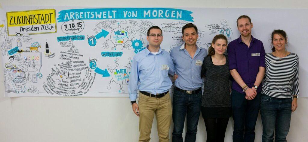 Teammitglieder von plant values beim Beteiligungsworkshop der Zukunftsstadt Dresden im Jahr 2015