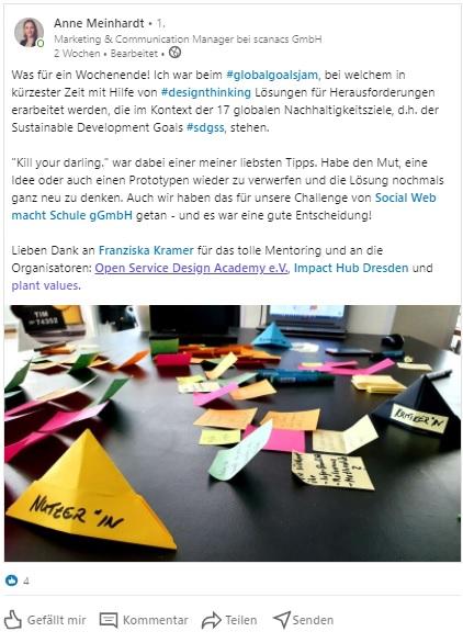 Linkedin Post zum Global Goals Jam Dresden 2020